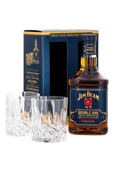 JIM BEAM DOUBLE OAK BOURBON 700ML WITH 2 TUMBLERS