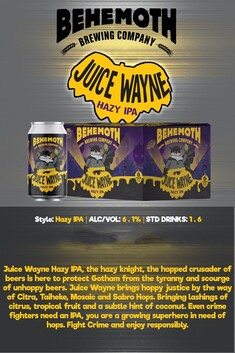 BEHEMOTH JUICE WAYNE HAZY IPA 6.1% 6 PACK CANS