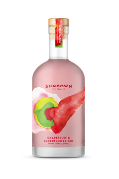 SUNDOWN GRAPEFRUIT AND ELDERFLOWER NZ GIN 40% 700ML